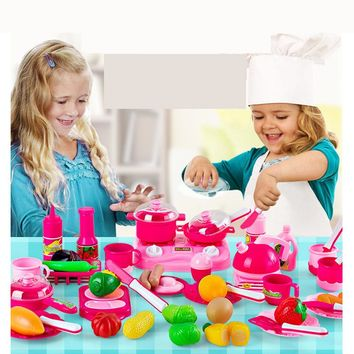 Hot 46pcs/set Kids kitchen play toys Fruit vegetable Cooking Pots Children Pans Dishes  Food cutting play Free shipping