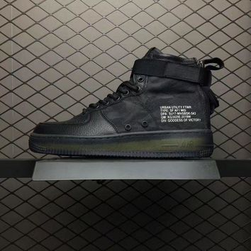 LMFON Nike Air Force 1 Mid QS Black For Women Men Running Sport Casual Shoes Sneakers
