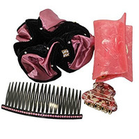 4 PIECE SET: Sparkling Rhinestones Inlaid Resin Hair Comb, Resin Claw Clips & Scrunchie - Multicolor
