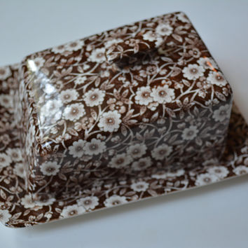 Vintage English Ironstone Brown Chintz Calico Transferware Cheese Keeper Covered Butter Dish Tray