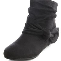 Sueded Bow Wedge Ankle Bootie: Charlotte Russe