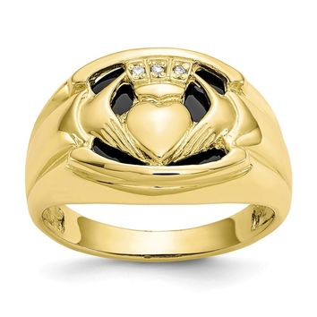 10k Yellow Gold Men's Diamond and Black Onyx Claddagh Ring
