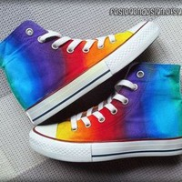 DCCKHD9 Rainbow Custom Converse / Colorful Painted Shoes