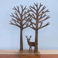 Little Wood Deer Forest Art Sculpture Rustic Home Decor