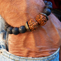 Men's Bracelet -Yoga bracelet, Rudraksha Men's jewelry,Rudraksha Shiva Energized bracelet, Gift for him
