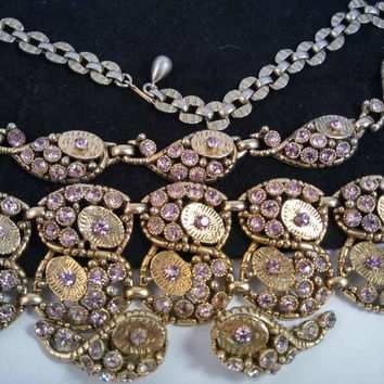 Lavender Rhinestone Necklace Bracelet Earring Set - 1960's Unsigned Selro Demi Parure -  Rare High End Hard To Find Jewelry