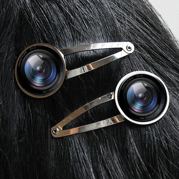 Camera Lens Hair Clips Hair Barrette Set