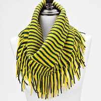 Two Tone Striped Snood Infinity Scarf Fringe Yellow & Green
