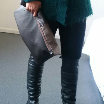 large brown leather clutch,recycled leather clutch, black leather, large leather pouch, make up, oversized pouch, ipad, kindle,tablet,manbag