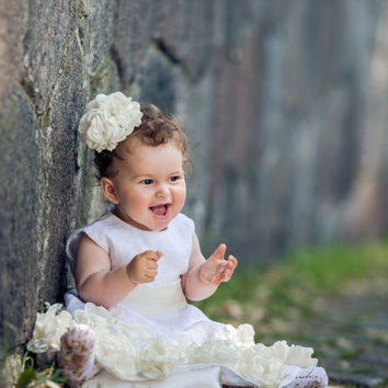 White Linen dress, Girls Dress , Flower Girl Dresses , Christening Gown , Baptism Gown , Christening Dress, Linen Christening Gown, Girls