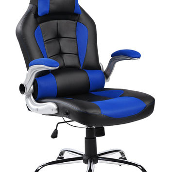 Merax High-back Ergonomic Pu Swivel Chair Computer Desk Lumbar Support Chair Napping Chair (Blue and Black) Blue