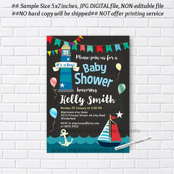 Shop Nautical Boy Shower Invites on Wanelo