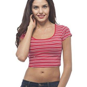 Hollywood Star Fashion Short Sleeve Scoop Neck Striped Crop top