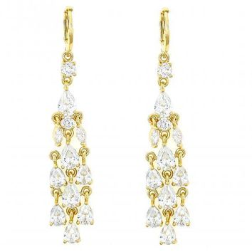 Gold Layered Chandelier Earring, Teardrop Design, with Cubic Zirconia, Gold Tone