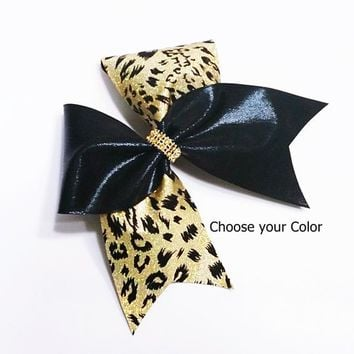 Cheer bows, Gold cheer bow, leopard cheer bow, cheetah cheer bow, cheerleader bow, cheerleading bow, cheer bow, softball bow, dance bow, bow