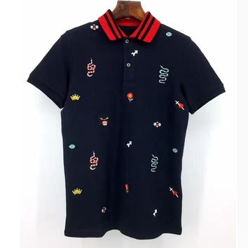 ca auguau High Embroidered snake leopard bee flowers Polo Shirt