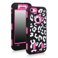 Meaci® Apple Iphone 5c Hard Case Leopard Stripes 3in1 Combo Hybrid Defender High Impact Body Armorbox Pc&silicone Material 1x Diamond Anti-dust Plug Stopper-random Color (Leopard&pink)