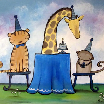 Kids Wall Art Original Painting, Jungle Animals Nursery Artwork, Happy Birthday Party, Childrens Room Decor, Tiger, Monkey, Giraffe