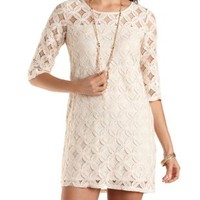All-Over Lace Shift Dress by Charlotte Russe - Off White