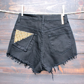 high waisted distressed studded back denim shorts - black