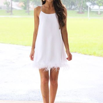 Feather Embellished Slip Shift Dress (White)
