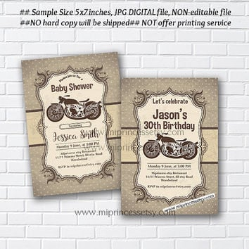 Motorcycle Baby Shower Invitation, vintage car birthday invitation, vintage vehicle, Retro invitation, birthday party invitation - card 977