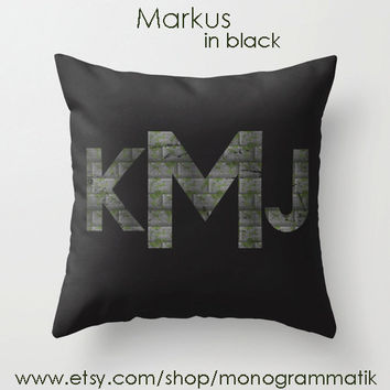 "Monogram Personalized Minecraft Custom Pillow Cover 16"" x 16"" Couch Art Bedroom Room Decor Initials Name Letters Black Forest Green Moss"