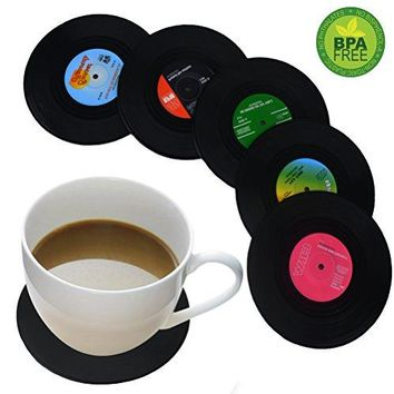 Coasters for Drinks by HIRUN  Set of 6 Vinyl Record Retro Music Coasters  Art Car Bar Tea Coffee Table Mug Beer Bottle Beverages Absorbent for Wine Glass Rubber Black Cup Mat  Large 42 inch Size