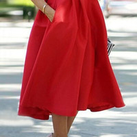 Red Noble High Waist Pleated Ball Skirt