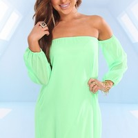 GREEN CHIFFON OFF SHOULDERS QUARTER SLEEVES DRESS