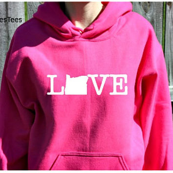 Love Oregon Hoodie, Oregon Sweatshirt