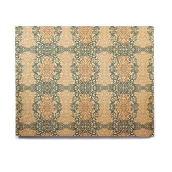 "Mydeas ""Fancy Damask Antique"" Brown Teal Birchwood Wall Art"