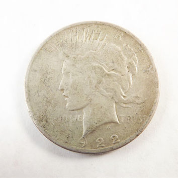 1922s Vintage Silver Peace One  Dollar Collectible Coin, 1922 s Coin