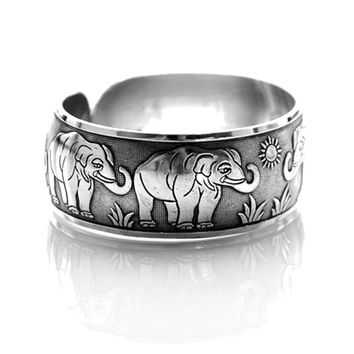 Elephant Family Animal Themed Bangle Cuff Bracelet in Silver | Animal Jewelry
