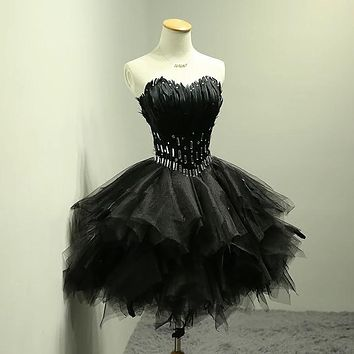 IBayU Black Short Prom Dresses For Teens 2017 Feather Cocktail Dress Vestidos De Festa Curto Elegante Luxury Cocktail Dresses