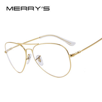 MERRY'S Fashion Women Titanium Glasses Frames Men Brand Titanium Eyeglasses Gold Shield Frame With Glasses