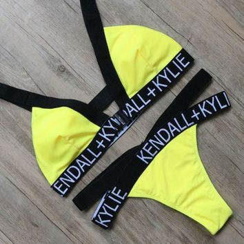 VONEHL5 Yellow Letter Bikini Sets Beach Bikini Brazilian Bathing Suits