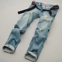 Korean Ripped Holes Stylish Slim Men Jeans [6528507971]