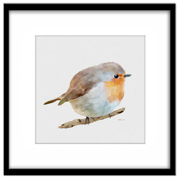 Nursery Art Instant Download, Fat Robin Printable Poster, Cute Bird Kids Wall Art, Bird Lover Art, Christmas Robin