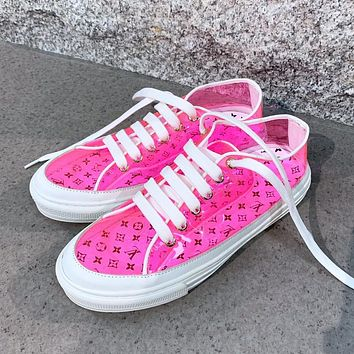 Louis Vuitton LV printed letters ladies jelly transparent casual sneakers Pink