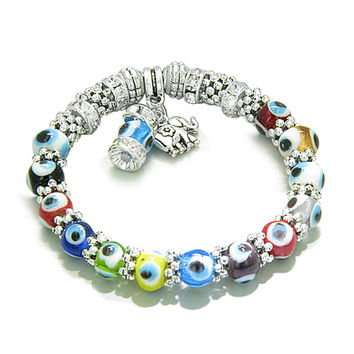 Amulet Evil Eye Protection Lucky Elephant Dangling Charm with Multicolor Eye Beads Cute Crystals Beads
