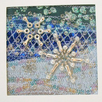 Handmade beaded snowflake Christmas card - 5 inch square fabric card - Winter Landscape - fabric Christmas card - Holiday card - Xmas card