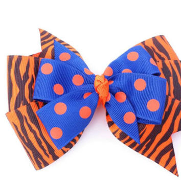 Blue and orange hair bow, black and orange tiger stripe bow, blue and orange dot, back to school bow, football team colors, grosgrain ribbon