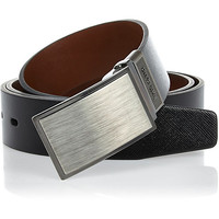 River Island MensBlack brushed metal plate belt