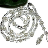 Lanyard Id Badge with White Swarovski Pearls and Crystals Handmade Fashion Jewelry with Angel Strong Magnetic Clasp