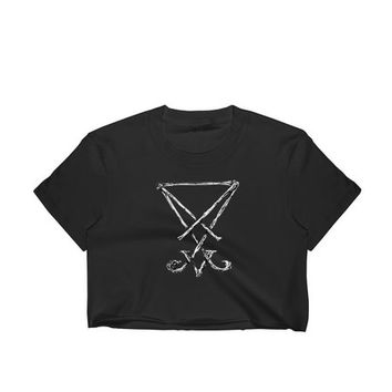 Goth shirt Sigil of Lucifer crop top- I love Luci, Satan clothing, Lucifer shirt, Goth black top, Satanic clothing, Sigil of Lucifer print