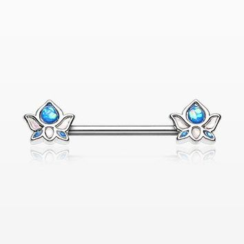 A Pair of Lotus Zen Opalescent Sparkle Nipple Barbell