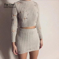 2016 New arrival winter knitted bodycon Dress vintage hollow out solid 2 Piece Dresses new year overalls