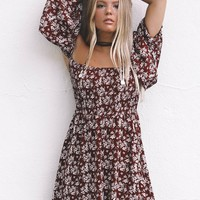 Just Stay Burgundy Smocked Open Sholder Dress