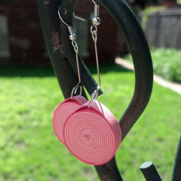 Paper Quilled Pink Earrings Round Spiral -  quilling jewelry, paper earrings, quilling earrings, eco friendly earrings, hot pink earrings